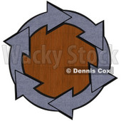 Clipart Illustration of a Circle Of Blue Denim Arrows Around A Wood Grain Center © Dennis Cox #28799