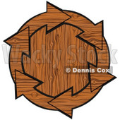 Clipart Illustration of a Circle Of Wooden Arrows Around A Wood Center © Dennis Cox #28800