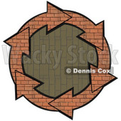 Clipart Illustration of a Circle Of Brick Arrows Around A Vertical Patterned Brick Center © Dennis Cox #28801