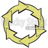 Clipart Illustration of a Circle Of Yellow Lined Notebook Paper Arrows Around A White Center © Dennis Cox #28802