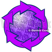 Clipart Illustration of a Circle Of Purple Arrows Around A Binary Coding Center © Dennis Cox #28805