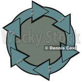 Clipart Illustration of a Circle Of Metal Teal Arrows With Bolts, Around A Textured Green Center © Dennis Cox #28806