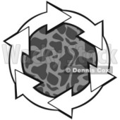 Clipart Illustration of a Circle Of White Arrows Around A Patterned Gray Center © Dennis Cox #28807