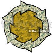Clipart Illustration of a Circle Of Green Camouflage Arrows Around An Orange Camo Center © Dennis Cox #28808