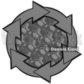 Clipart Illustration of a Circle Of Gray Arrows Around A Patterned Center © Dennis Cox #28811