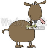 Clipart Illustration of a Brown Dog Hanging His Tongue Out And Giving An Annoyed Look, A Bone Hanging From His Collar © Dennis Cox #28955