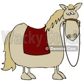 Clipart Illustration of a Spooked Horse With A Red Blanket Over Its Back And Reins Hanging Down From Its Face © Dennis Cox #28957