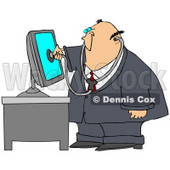 Clipart Illustration of a Chubby Computer Repair Doctor Holding A Stethoscope Up To A Computer Monitor © Dennis Cox #28960