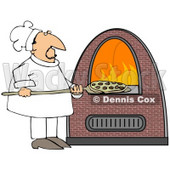 Clipart Illustration of a Chef Inserting A Pepperoni Pizza Into A Brick Pizza Oven With Orange Flames On The Inside © djart #28961