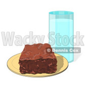 Clipart Illustration of a Chocolate Brownie Square On A Yellow Plate With A Tall Glass Of Milk © Dennis Cox #28966