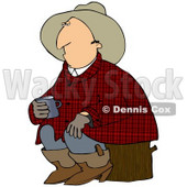Clipart Illustration of a Sleepy Cowboy In Plaid, Sitting On A Stump And Holding A Cup Of Coffee © Dennis Cox #28967