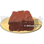Clipart Illustration of a Chocolate Brownie On A Plate © djart #28968