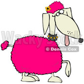 Clipart Illustration of a Poodle Dog With Pink Tufts Of Hair And A Yellow Flower On Its Head © Dennis Cox #28969
