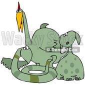 Clipart Illustration of a Group Of Dog Like, Snake Like And Bird Like Green Dinosaurs © Dennis Cox #28977