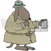 Clipart Illustration of a Poor, Homeless Dog In A Trench Coat And Hat, Standing And Holding A Cup, Asking For Spare Change © Dennis Cox #28978