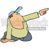 Clipart Illustration of a White Man In A Hat, Kneeling On The Ground And Pointing To The Right While Giving Someone Directions © Dennis Cox #29048
