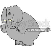 Clipart Illustration of a Big Gray Elephant Standing On Its Hind Legs And Facing To The Left © djart #29049