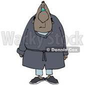 Clipart Illustration of a Tired Black Man In Blue Pajamas, Slippers And A Robe, Standing And Facing Front © Dennis Cox #29050