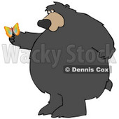 Clipart Illustration of a Big Chubby Wild Bear Standing On His Hind Legs, Gazing At A Butterfly On His Paw © Dennis Cox #29232