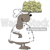 Clipart Illustration of a Pleased Dog Chef In A Uniform, Holding Up A Tray Of Doggy Biscuits In A Bakery © Dennis Cox #29233