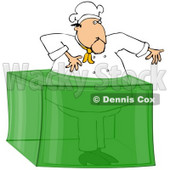 Clipart Illustration of a Male Chef Stuck In A Giant Block Of Lime Gelatin Dessert © djart #29249