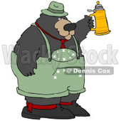 Clipart Illustration of a Big Oktoberfest Bear In Green, Holding Up A Beer Stein © Dennis Cox #29250