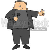 Clipart Illustration of a Male MC Or Tv Show Host Holding A Microphone And Introducing A Guest © Dennis Cox #29251
