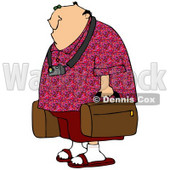 Clipart Illustration of a White Man Dressed In Red, Wearing A Camera Around His Neck And Carrying Luggage In An Airport © djart #29915