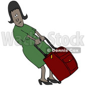 Clipart Illustration of a Black Woman In A Green Dress, Trying To Pull A Heavy Rolling Suitcase © djart #29916