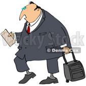 Clipart Illustration of a White Traveling Businessman Carrying His Plane Ticket And Pulling Rolling Luggage © djart #29918
