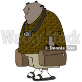 Clipart Illustration of a Black Male Tourist Wearing A Camera Around His Neck And Carrying Luggage © djart #29919