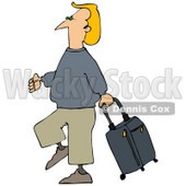 Clipart Illustration of a Blond White Man Walking Through An Airport, Pulling A Rolling Suitcase Behind © djart #29931
