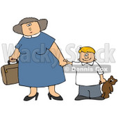 Clipart Illustration of a Mother Carrying A Suitcase And Holding Hands With Her Son That Is Carrying A Teddy Bear © Dennis Cox #29932