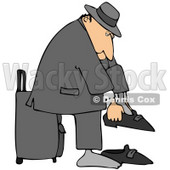Clipart Illustration of a White Traveling Businessman Standing In Front Of His Suitcase And Putting His Shoes On © djart #29933