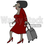 Clipart Illustration of a Sexy Black Woman In A Red Dress And Heels, Walking Through An Airport And Pulling Rolling Luggage Behind Her © Dennis Cox #29934