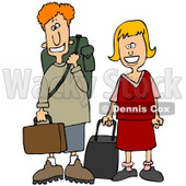 Clipart Illustration of a Young White Couple Smiling And Standing With Their Luggage At An Airport © Dennis Cox #29935