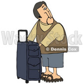 Clipart Illustration of a White Man Checking The Compartments Of His Suitcase While Waiting To Board His Plane At The Airport © djart #29936
