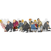 Clipart Illustration of a Crowded Group Of Travelers, Male And Female White And Black Children, Men And Women, With Luggage In An Airport © Dennis Cox #29937
