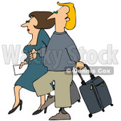 Clipart Illustration of a Brunette Woman And Blond Man Walking Together Through An Airport, With Rolling Luggage © Dennis Cox #29938