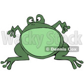 Clipart Illustration of a Big Green Bullfrog Leaping And Suspended In Mid Air © djart #30241