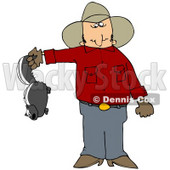 Clipart Illustration of a Frustrated Cowboy Holding A Skunk That's Been Torturing His Farm With Stinky Spray © Dennis Cox #30271