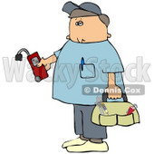 Clipart Illustration of a Service Technician From A Gas Company, Holding A Leak Detector, Wearing Shoe Covers And Carrying A Bag Of Hand Tools © djart #30273