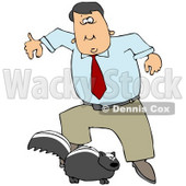 Clipart Illustration of a Man Leaping Back From A Skunk That Is Preparing To Spray © Dennis Cox #30274