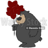 Clipart Illustration of a Big Bear Standing And Holding A Bunch Of Red Heart Shaped Valentine's Day Balloons © djart #30275