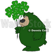 Clipart Illustration of a Big Green Bear Standing And Holding A Bunch Of Green Clover Saint Patricks Day Balloons. © djart #30276