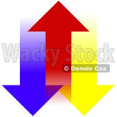 Clipart Illustration of a Red Arrow Moving Upwards, Between Blue And Yellow Arrows © Dennis Cox #30279