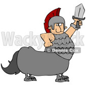 Clipart Illustration of a Roman Soldier Centaur Man Holding Up A Sword © djart #30433