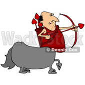 Clipart Illustration of a Cupid Centaur Man Shooting Red Heart Valentine's Day Arrows © Dennis Cox #30434