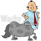 Clipart Illustration of a Centaur Businessman In A Blue Shirt And Red Tie © Dennis Cox #30435