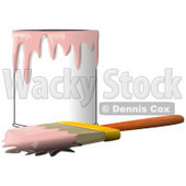 Clipart Illustration of a Wood Handled Paintbrush With Pink Paint On The Bristles, Resting In Front Of A Can Of Pink Paint © Dennis Cox #30592